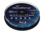 Bluray MediaRange 25GB 10pcs BD-R Spindel Injekt Prin. 6x